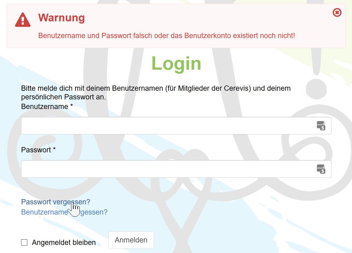 Login Fehler, Passwort vergessen