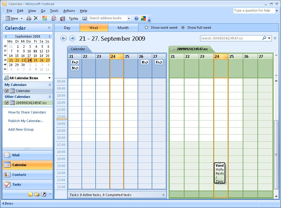 Outlook ICS Kalender Ansicht